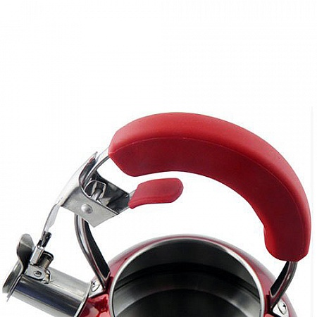 Stainless Steel Whistling Teakettle, Induction Safe, 4 Liter/4.2 Quart, Red
